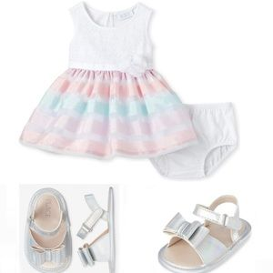 NWT • Childrens Place Lace Striped Dress + Sandals